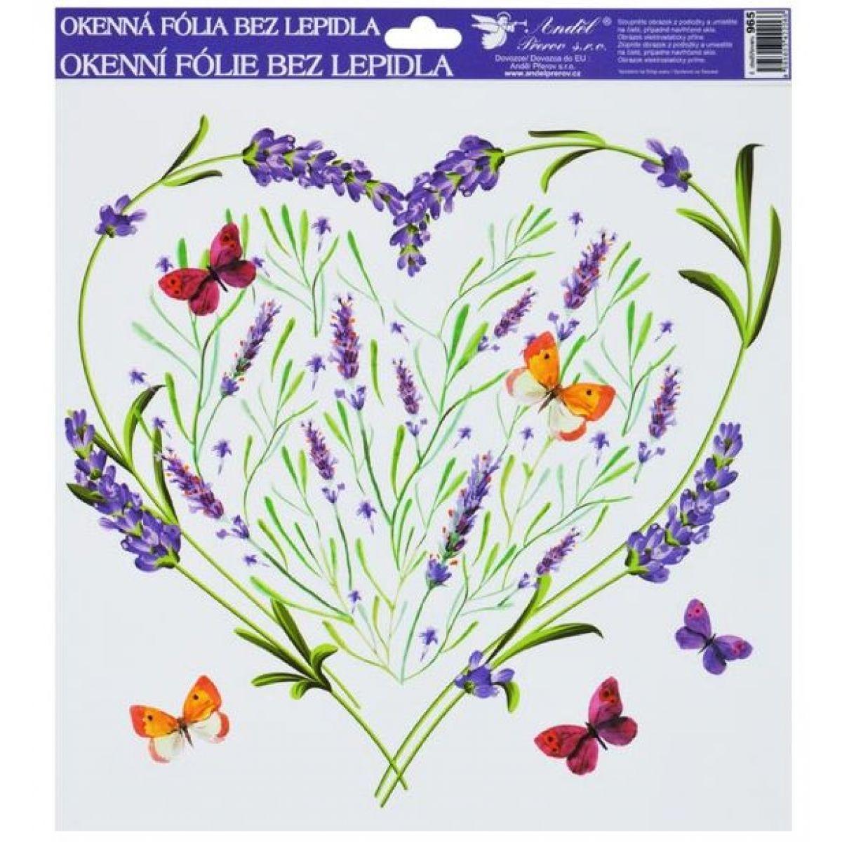 Okenné fólie 30x30 cm, levanduľa srdce s motýľmi