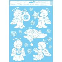 Okenné fólie 42 x 30 cm anjeli Anjelik s hviezdičkou
