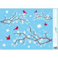 Okenné fólie 42 x 30 cm vetvy Červení vtáčiky