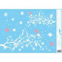 Okenné fólie 42 x 30 cm vetvy Ružový vtáčiky