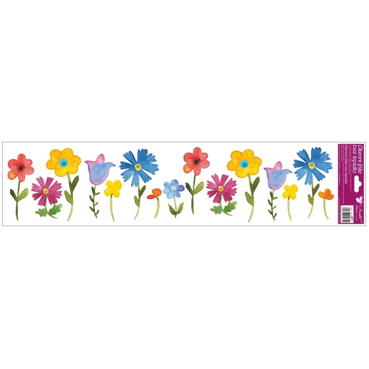 Okenné fólie pruhy s kvetmi 64x15 cm farebné kvety