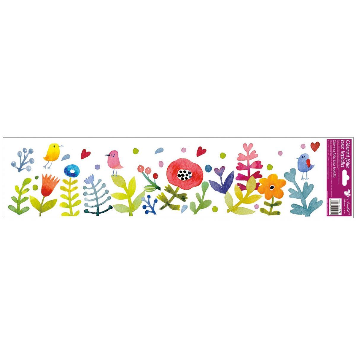 Okenné fólie pruhy s kvetmi 64x15 cm lúka s vtáčikmi