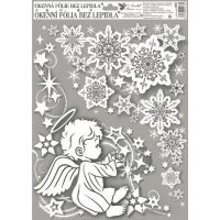 Okenné fólie rohová anjelici s dúhovými glitrami 38 x 30 cm Anjelik vľavo
