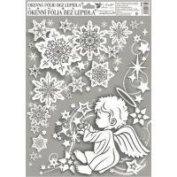 Okenné fólie rohová anjelici s dúhovými glitrami 38 x 30 cm Anjelik vpravo