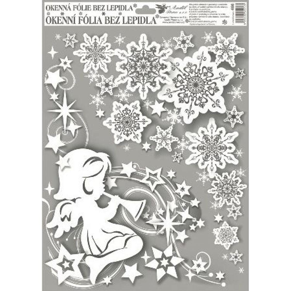 Okenné fólie rohová anjelici s dúhovými glitrami 38 x 30 cm Silueta anjelika vľavo