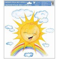 Okenní fólie ručně malovaná sluníčka 30x30 cm sluníčko s duhou