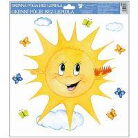 Okenní fólie ručně malovaná sluníčka 30x30 cm sluníčko s hřebenem