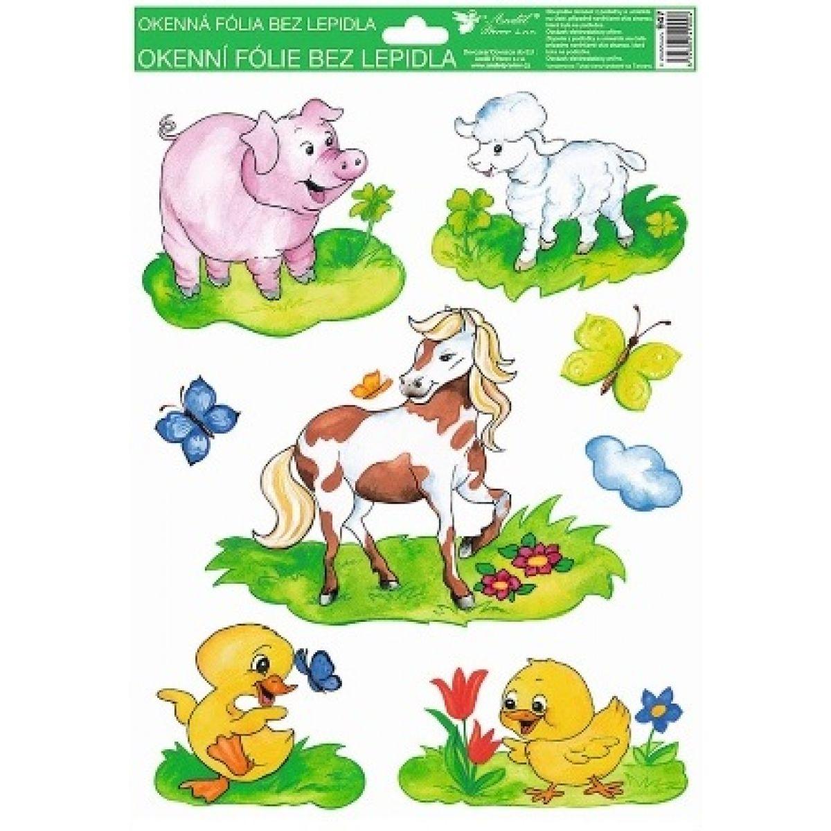 Okenné fólie ručne maľovaná zvieratka 33,5x26cm prasa, ovca, kôň