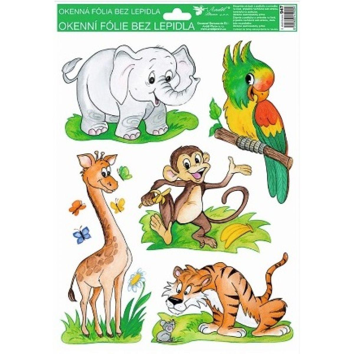 Okenné fólie ručne maľovaná zvieratka 33,5x26cm slon, papagáj, opica