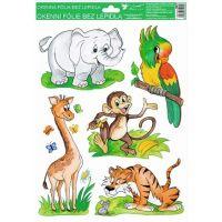 Okenní fólie ručně malovaná zvířátka 33,5x26cm slon, papoušek, opice
