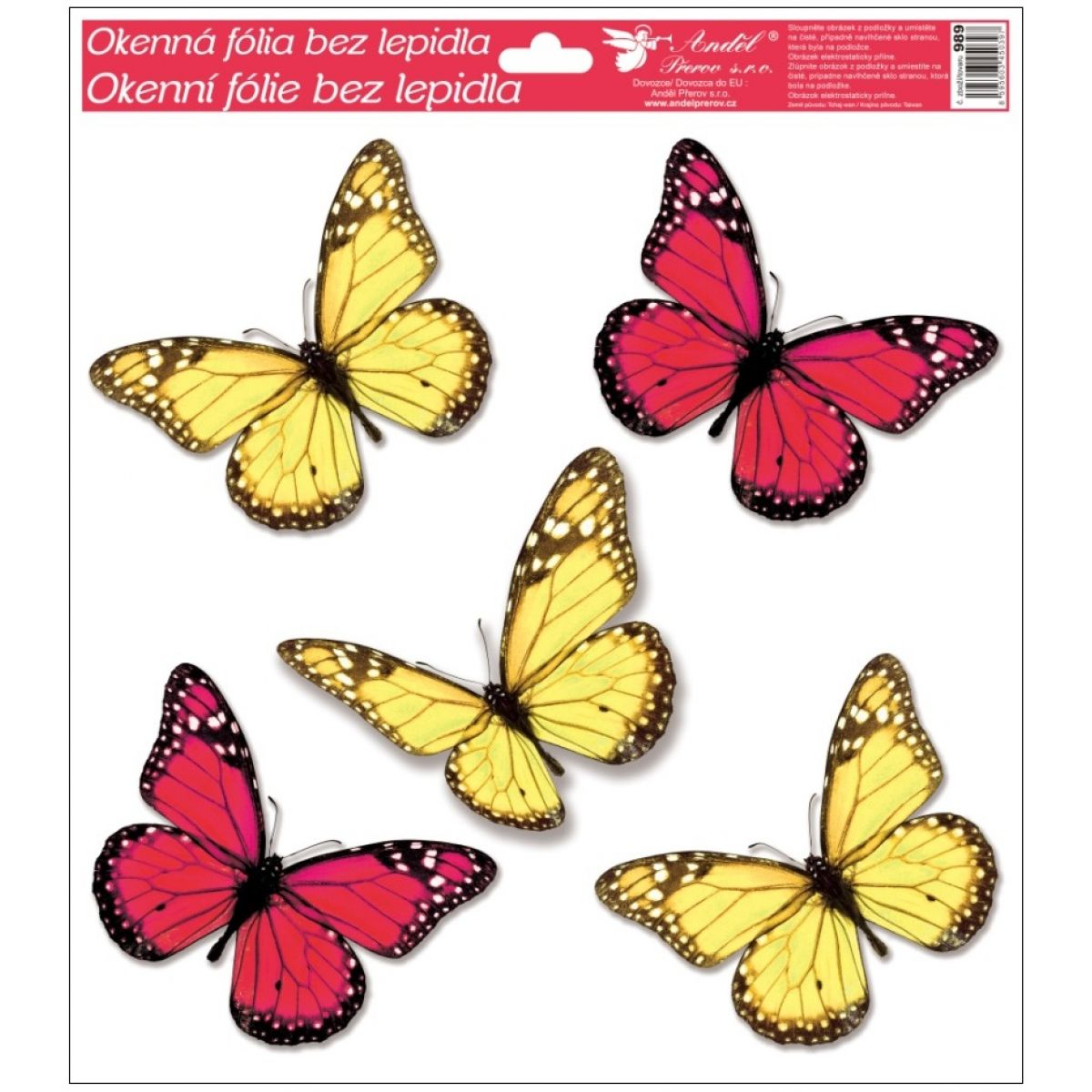 Okenné fólie s glitrami motýle 33x30 cm červeno-žlté