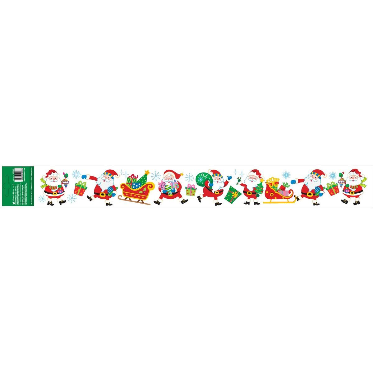 Okenné fólie s glitrami pruh s detskými motívmi 59 x 7 cm Santa Klaus