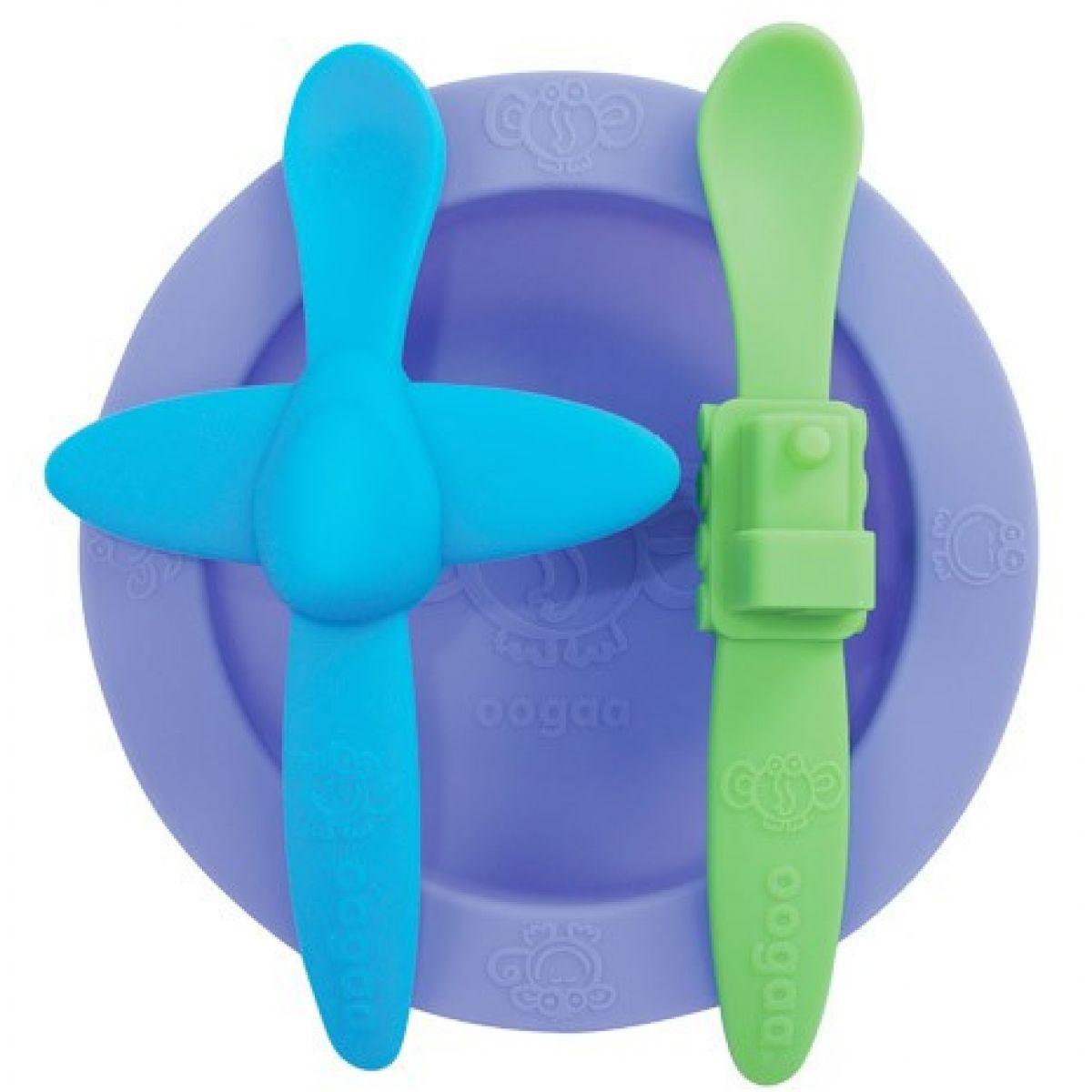 Ooga Sada riadu - Fialový tanier, modrozelený príbor