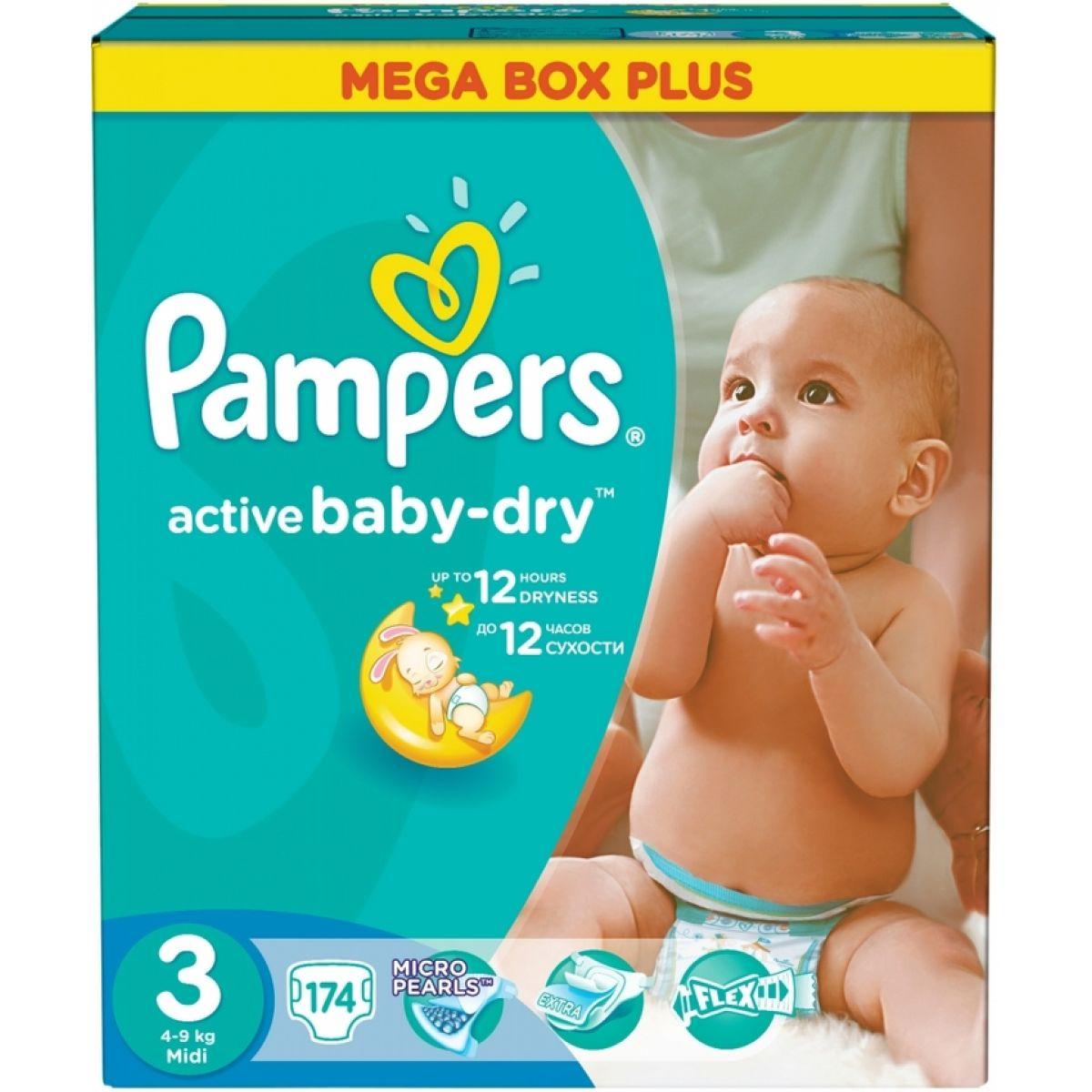 Active Baby Pampers Dry 3 plienky Mega Box Plus 174ks