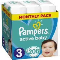 Pampers Plienky Active Baby 3 Midi 6 - 10kg 208 ks