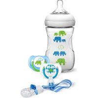 Philips Avent Sada fľaša 260 ml + cumlík 2 ks + pásik k cumlíku s potlačou slonov modrá