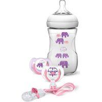 Philips Avent sada láhev 260 ml šidítko 2 ks pásek k šidítku s potiskem slonů růžová