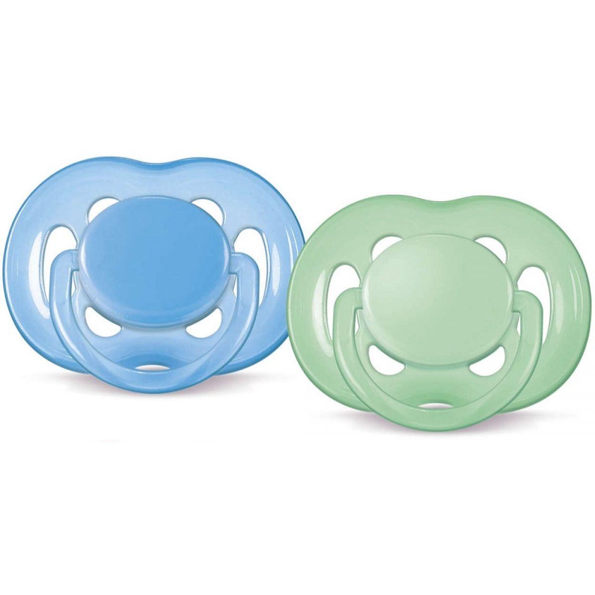 AVENT Cumlík silikónový Sensitive - modrý/zelený 6-18m, 2ks
