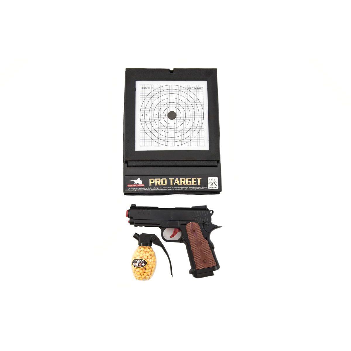 Pištoľ plastová na guličky 6mm s terčom