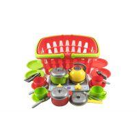 Plastový nákupný košík plast so sadou riadu a varičom