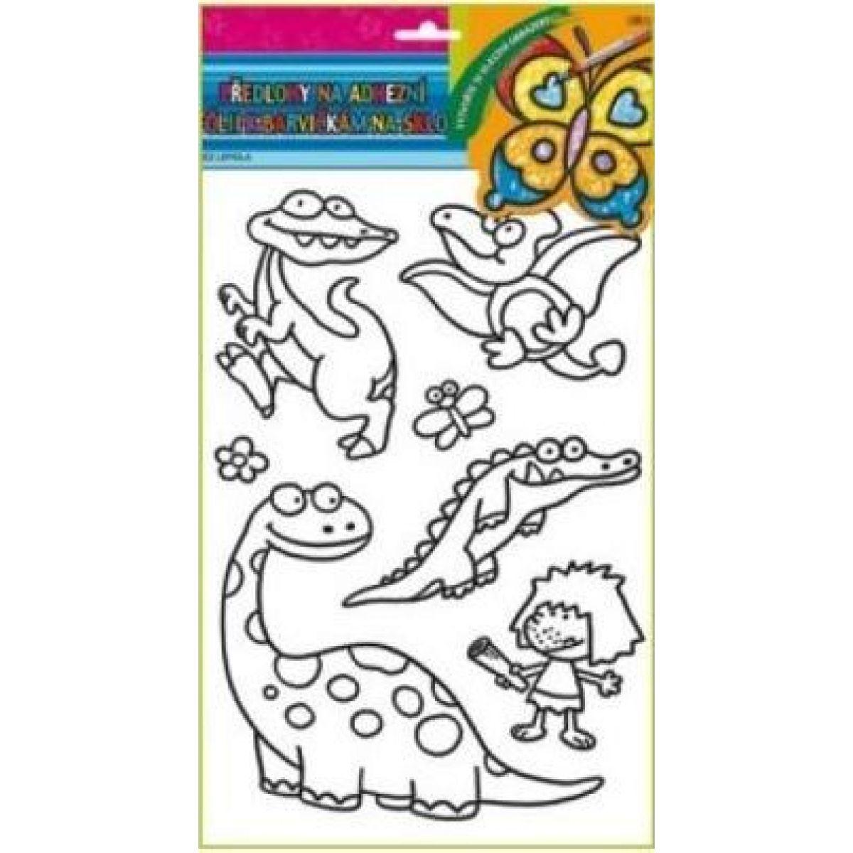 Predlohy na maľovanie na sklo s vyvýšenou kontúrou Dino obrázok 2