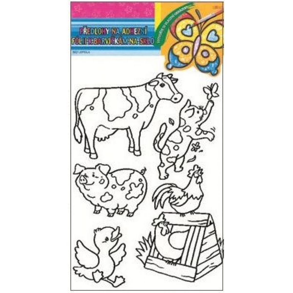 Predlohy na maľovanie na sklo s vyvýšenou kontúrou farma 30x21cm kravička a mačka