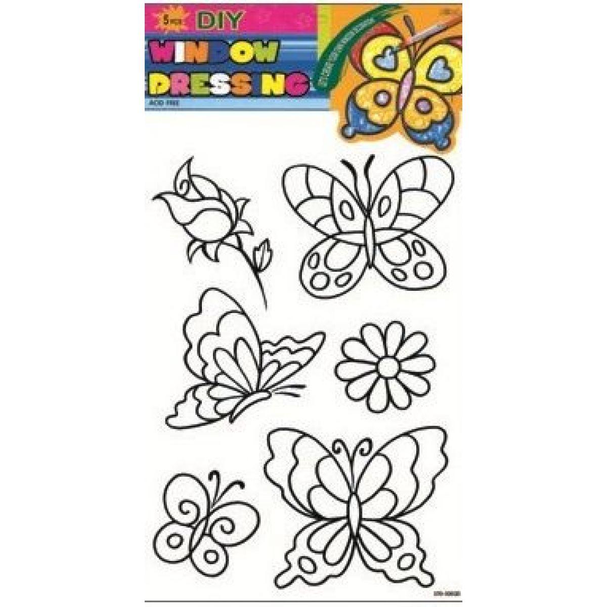 Predlohy na maľovanie na sklo s vyvýšenou kontúrou motýle ruže