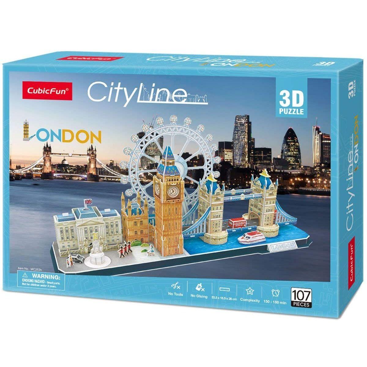 CubicFun Puzzle 3D City Line Londýn 107 dielikov