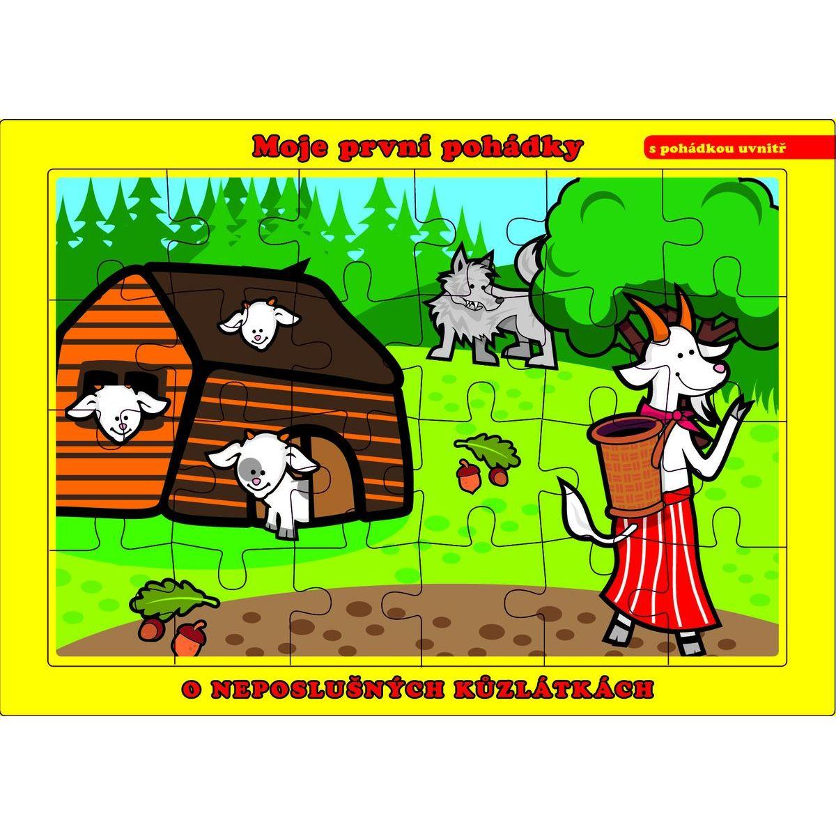 Puzzle doskové O neposlušných kozliatkach 24 dielikov
