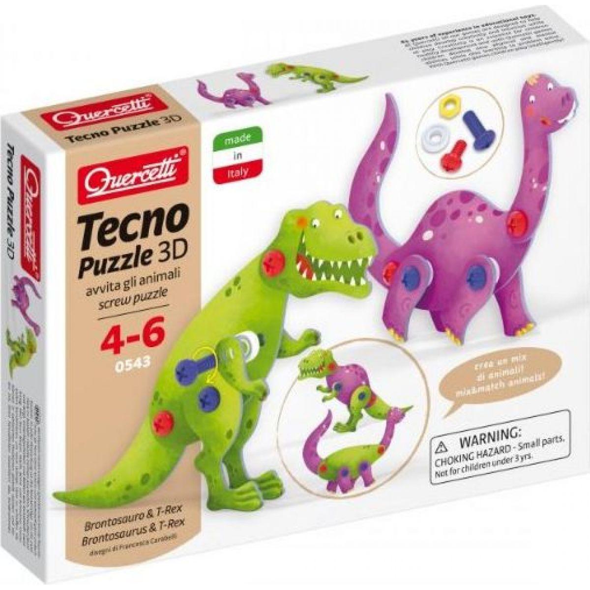 Quercetti Tecno 3D Puzzle brontosaurus a T-Rex