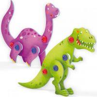 Quercetti Tecno 3D Puzzle brontosaurus a T-Rex 2