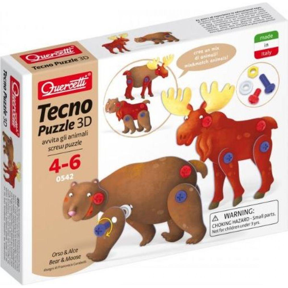Quercetti Tecno 3D Puzzle medveď a los