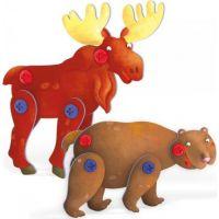 Quercetti Tecno 3D Puzzle medveď a los 2