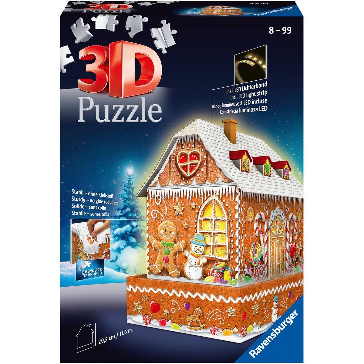 Ravensburger 3D puzzle 112371 Perníková chalúpka (Nočná edícia) 216 dielikov