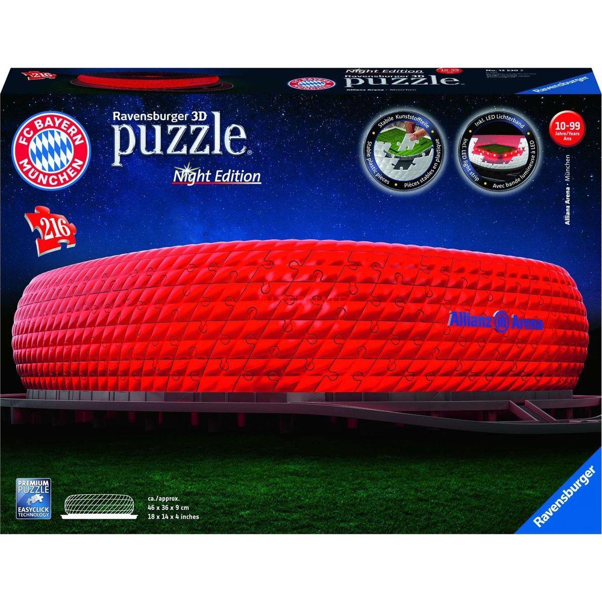 Ravensburger 3D puzzle 125302 Allianz Arena Nočná edícia 216 dielikov