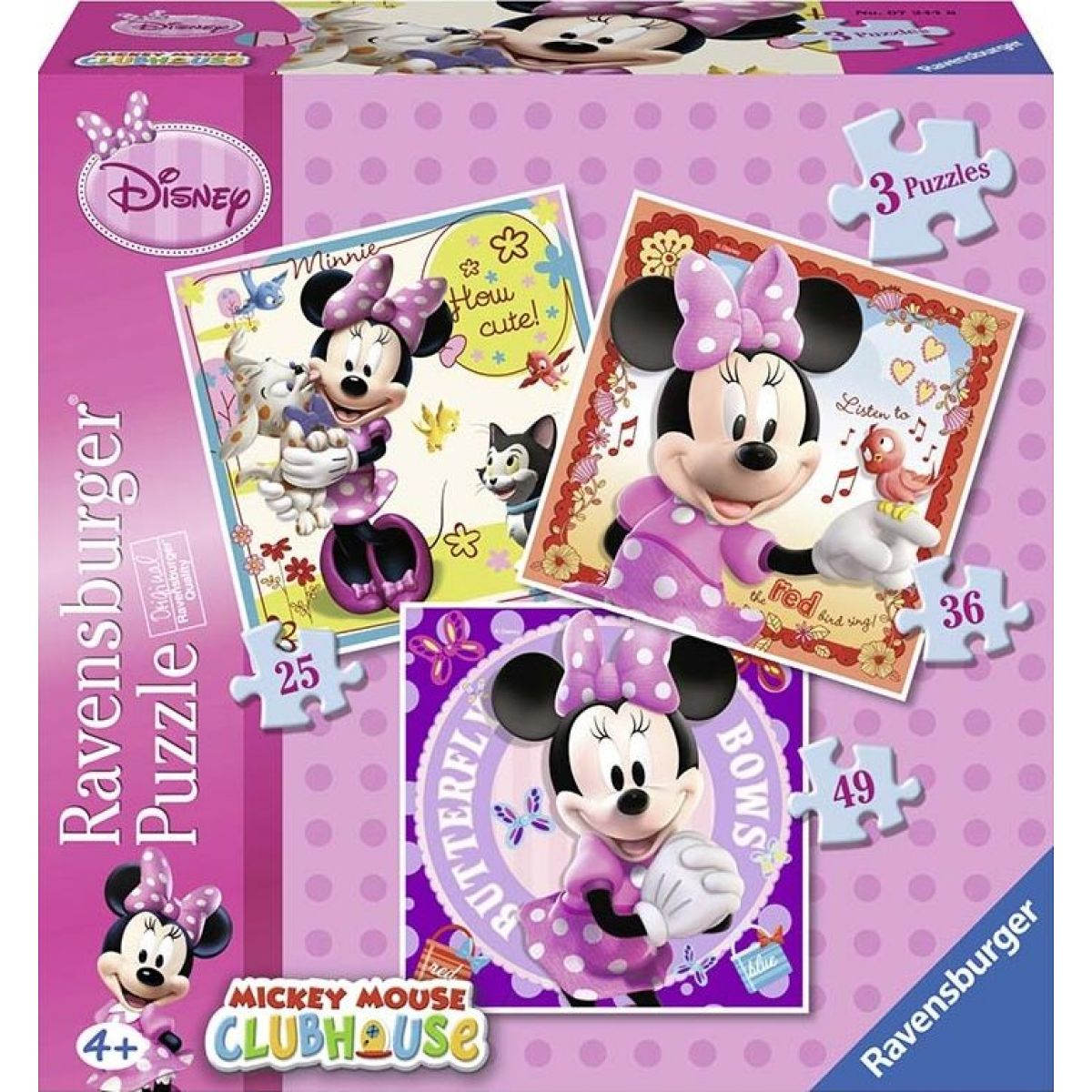 Ravensburger Disney Minnie Mouse 3 in a Box puzzle 25, 36, 49 dielikov