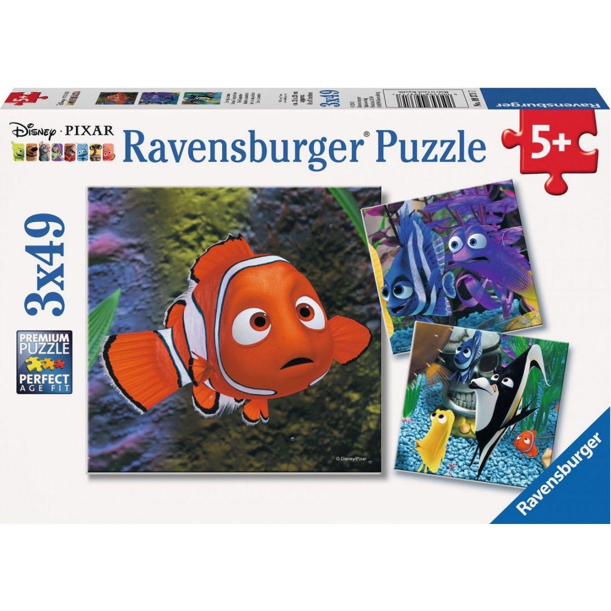 RAVENSBURGER 3x49 dílků Hledá se Nemo V akváriu