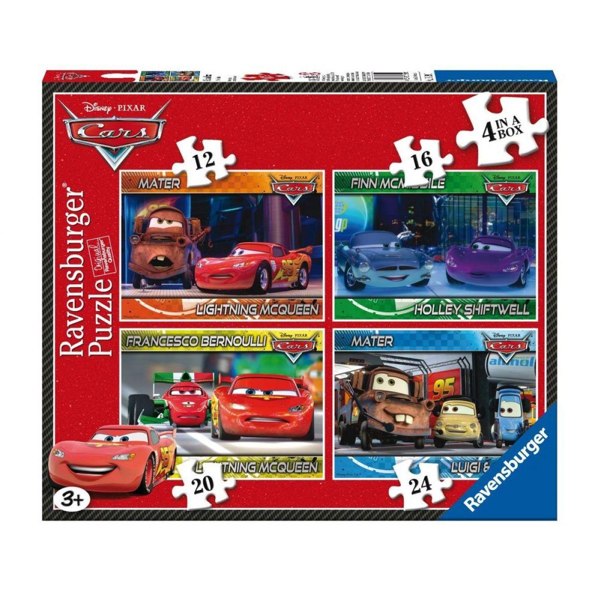 RAVENSBURGER 4v1 Auta Cars 12,16,20,24 dílků