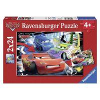 RAVENSBURGER 2x24 dílků Cars Auta : Blesk McQueen D.J. & Wingo 2v1