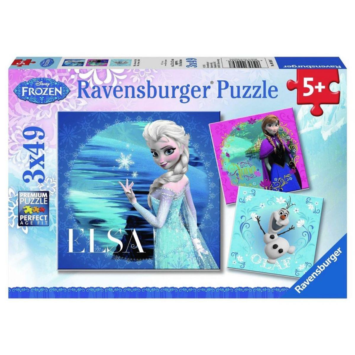 Ravensburger Disney Ľadové kráľovstvo Elsa, Anna, Olaf 3 x 49 dielikov