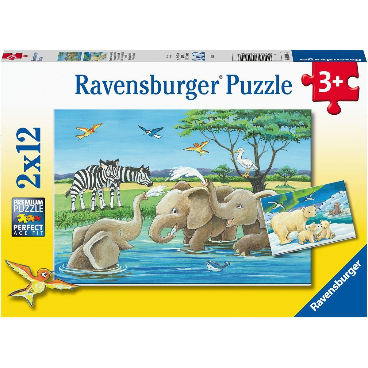 Ravensburger puzzle 050956 Zvieratá z celého sveta 2x12 dielikov