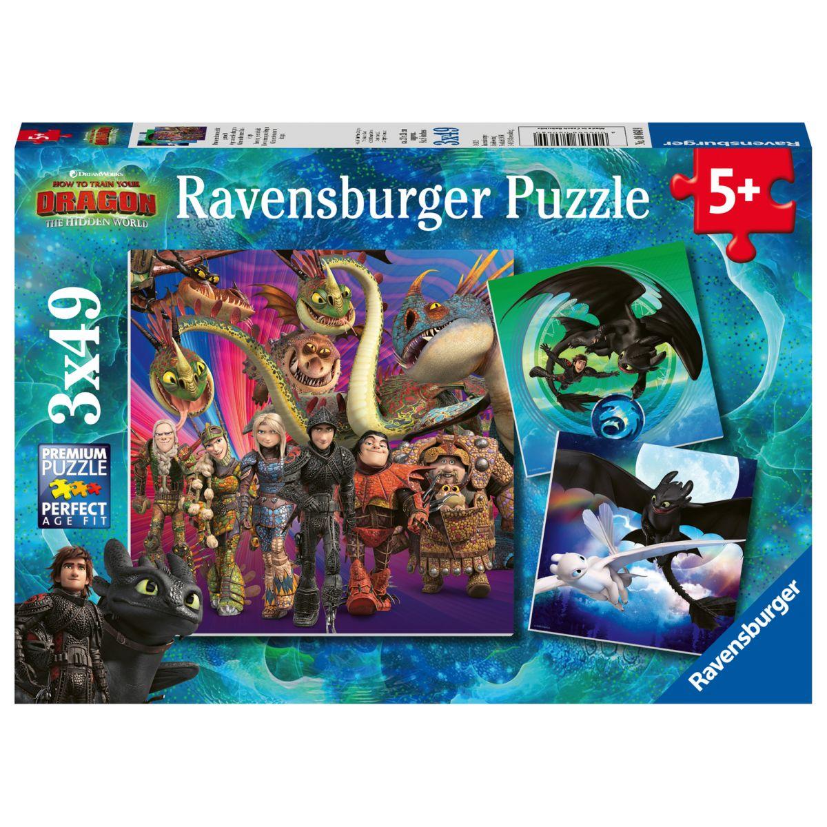 Ravensburger puzzle 080649 Ako vycvičiť draka 3 3x49 dielikov
