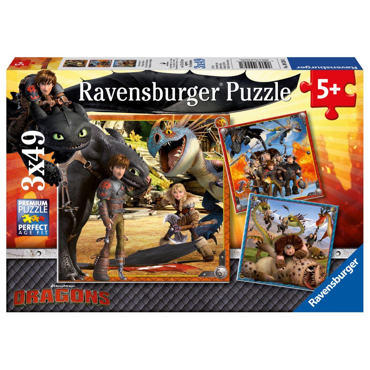 Ravensburger puzzle 092581 Ako vycvičiť draka 3x49 dielikov