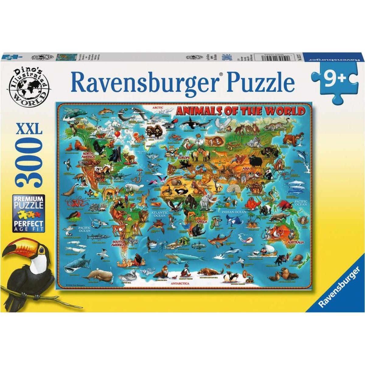 Ravensburger puzzle 132577 Ilustrovaná mapa sveta 300 dielikov