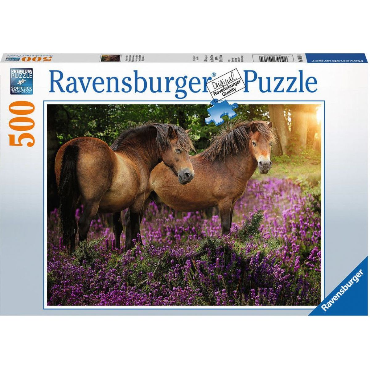 Ravensburger puzzle 148134 Poníky medzi kvetinami 500 dielikov
