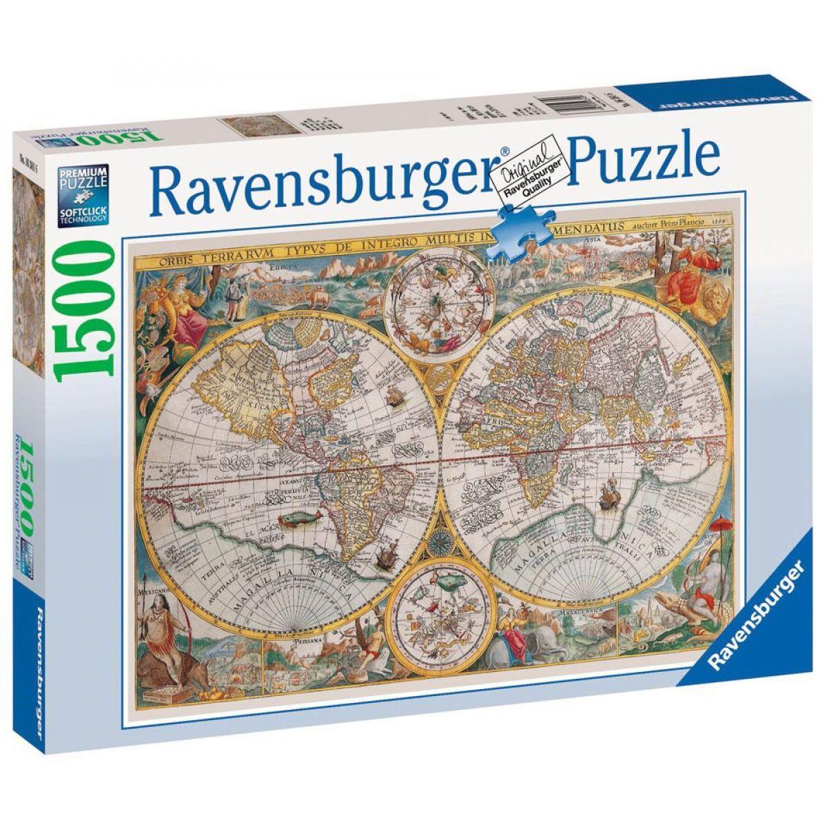 RAVENSBURGER Mapa sveta r.1594 1500 dielikov