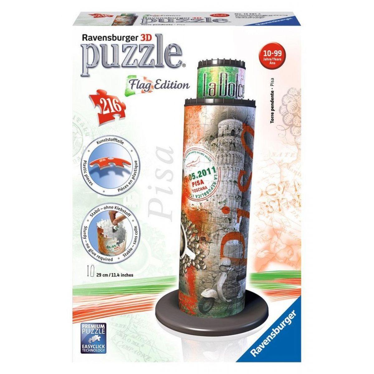 Ravensburger 3D puzzle Šikmá veža v Pise vlajková edícia 216 dielikové