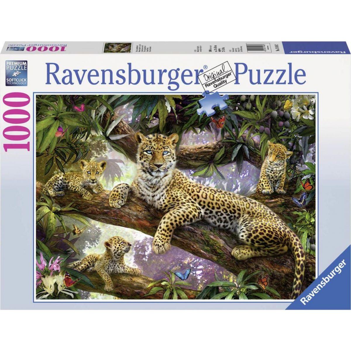 Ravensburger puzzle Hrdá leopardí matka 1000 dielikov