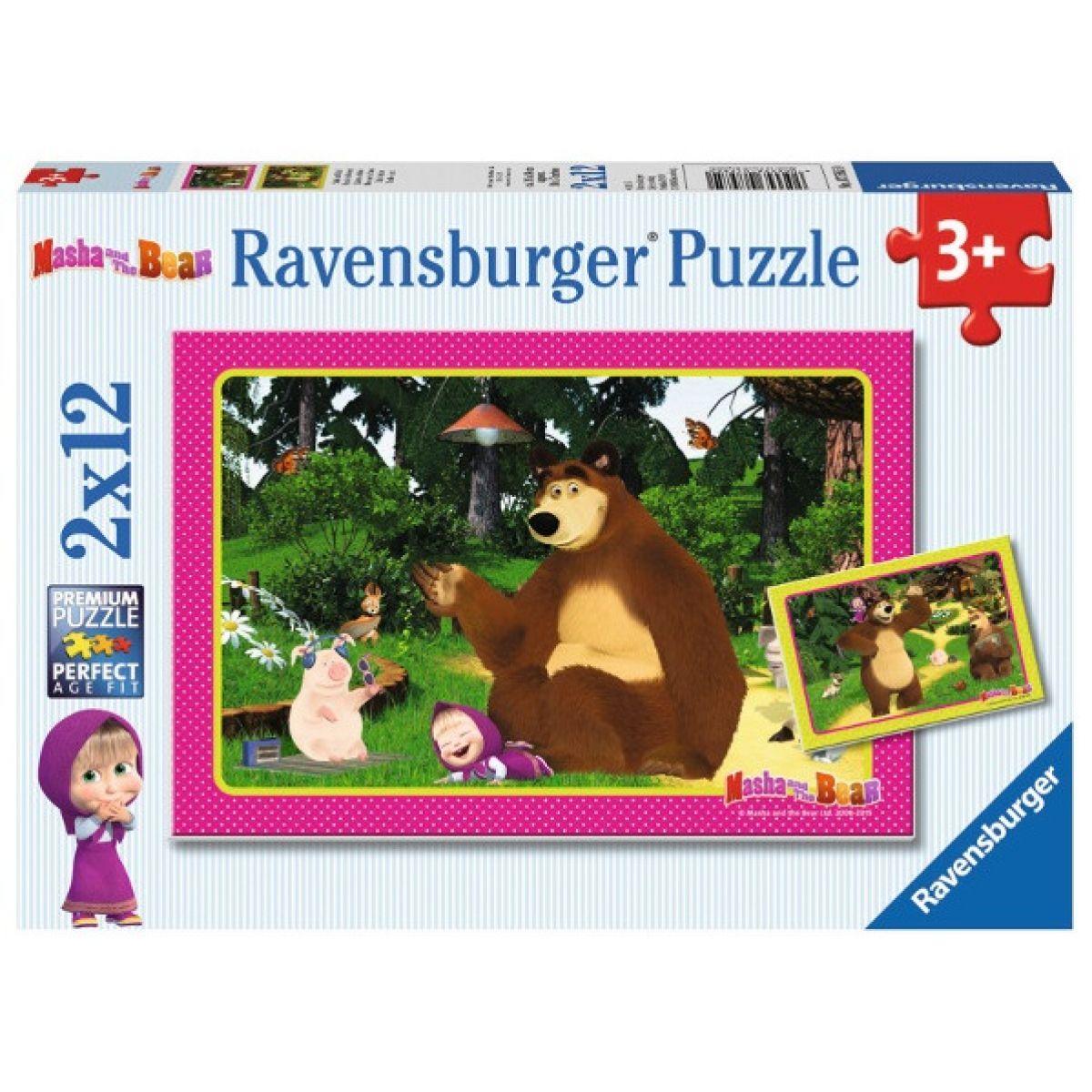 RAVENSBURGER 2x12 dílků Máša a medvěd: Zábava v lese 2v1