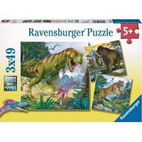 Ravensburger Puzzle Praveké zvieratá 3x49 dielikov